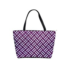 Woven2 White Marble & Purple Leather Shoulder Handbags
