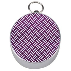Woven2 White Marble & Purple Leather Silver Compasses by trendistuff