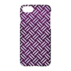 Woven2 White Marble & Purple Leather Apple Iphone 7 Hardshell Case by trendistuff