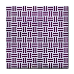Woven1 White Marble & Purple Leather (r) Tile Coasters by trendistuff