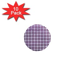 Woven1 White Marble & Purple Leather (r) 1  Mini Magnet (10 Pack)  by trendistuff