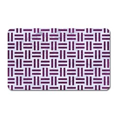 Woven1 White Marble & Purple Leather (r) Magnet (rectangular) by trendistuff