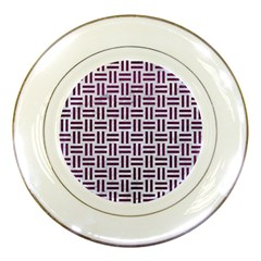 Woven1 White Marble & Purple Leather (r) Porcelain Plates by trendistuff