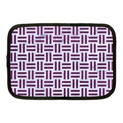Woven1 White Marble & Purple Leather (r) Netbook Case (medium)  by trendistuff