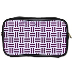 Woven1 White Marble & Purple Leather (r) Toiletries Bags by trendistuff