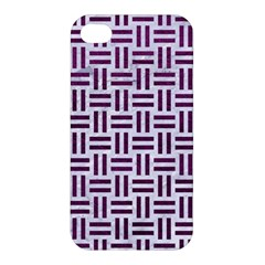 Woven1 White Marble & Purple Leather (r) Apple Iphone 4/4s Hardshell Case by trendistuff