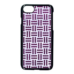 Woven1 White Marble & Purple Leather (r) Apple Iphone 7 Seamless Case (black)