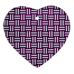 Woven1 White Marble & Purple Leather Ornament (heart)