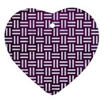WOVEN1 WHITE MARBLE & PURPLE LEATHER Ornament (Heart) Front