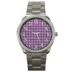 WOVEN1 WHITE MARBLE & PURPLE LEATHER Sport Metal Watch Front