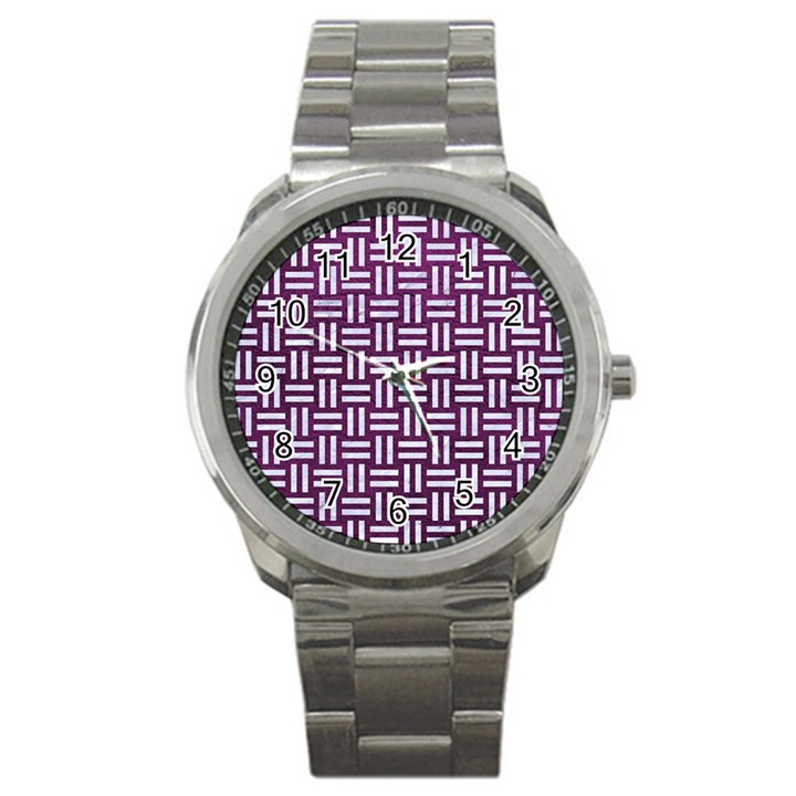 WOVEN1 WHITE MARBLE & PURPLE LEATHER Sport Metal Watch