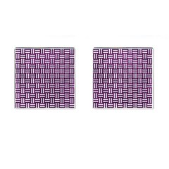Woven1 White Marble & Purple Leather Cufflinks (square)