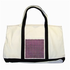 Woven1 White Marble & Purple Leather Two Tone Tote Bag by trendistuff