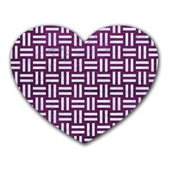 Woven1 White Marble & Purple Leather Heart Mousepads by trendistuff