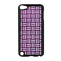 Woven1 White Marble & Purple Leather Apple Ipod Touch 5 Case (black) by trendistuff
