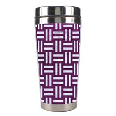 Woven1 White Marble & Purple Leather Stainless Steel Travel Tumblers by trendistuff