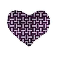 Woven1 White Marble & Purple Leather Standard 16  Premium Flano Heart Shape Cushions by trendistuff