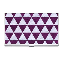 Triangle3 White Marble & Purple Leather Business Card Holders by trendistuff