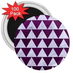 Triangle2 White Marble & Purple Leather 3  Magnets (100 Pack)