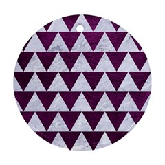 Triangle2 White Marble & Purple Leather Round Ornament (two Sides) by trendistuff