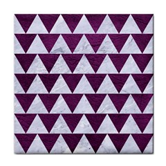 Triangle2 White Marble & Purple Leather Face Towel by trendistuff