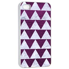 Triangle2 White Marble & Purple Leather Apple Iphone 4/4s Seamless Case (white) by trendistuff