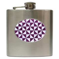 Triangle1 White Marble & Purple Leather Hip Flask (6 Oz) by trendistuff