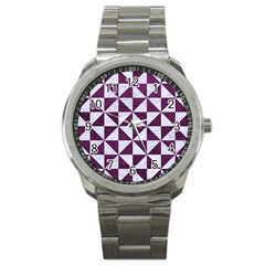 Triangle1 White Marble & Purple Leather Sport Metal Watch by trendistuff