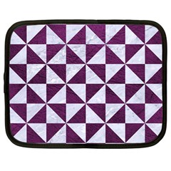 Triangle1 White Marble & Purple Leather Netbook Case (large) by trendistuff