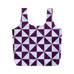 Triangle1 White Marble & Purple Leather Full Print Recycle Bags (m)  by trendistuff