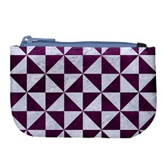 Triangle1 White Marble & Purple Leather Large Coin Purse by trendistuff