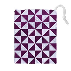 Triangle1 White Marble & Purple Leather Drawstring Pouches (extra Large) by trendistuff