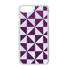 Triangle1 White Marble & Purple Leather Apple Iphone 8 Plus Seamless Case (white) by trendistuff