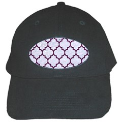 Tile1 White Marble & Purple Leather (r) Black Cap