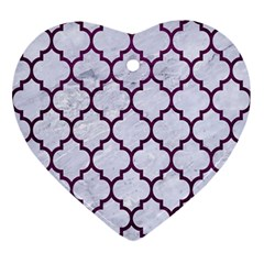 Tile1 White Marble & Purple Leather (r) Ornament (heart)