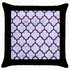 Tile1 White Marble & Purple Leather (r) Throw Pillow Case (black) by trendistuff