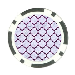 Tile1 White Marble & Purple Leather (r) Poker Chip Card Guard by trendistuff