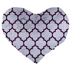 Tile1 White Marble & Purple Leather (r) Large 19  Premium Heart Shape Cushions