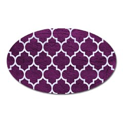 Tile1 White Marble & Purple Leather Oval Magnet by trendistuff