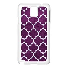 Tile1 White Marble & Purple Leather Samsung Galaxy Note 3 N9005 Case (white) by trendistuff