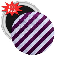Stripes3 White Marble & Purple Leather (r) 3  Magnets (100 Pack) by trendistuff