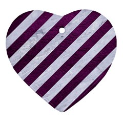 Stripes3 White Marble & Purple Leather (r) Heart Ornament (two Sides) by trendistuff