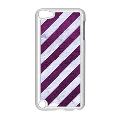 Stripes3 White Marble & Purple Leather (r) Apple Ipod Touch 5 Case (white) by trendistuff