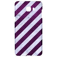 Stripes3 White Marble & Purple Leather (r) Samsung C9 Pro Hardshell Case  by trendistuff