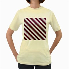 Stripes3 White Marble & Purple Leather Women s Yellow T Shirt