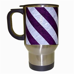 Stripes3 White Marble & Purple Leather Travel Mugs (white) by trendistuff