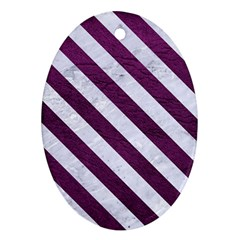 Stripes3 White Marble & Purple Leather Oval Ornament (two Sides) by trendistuff