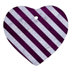 Stripes3 White Marble & Purple Leather Heart Ornament (two Sides) by trendistuff