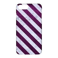 Stripes3 White Marble & Purple Leather Apple Iphone 8 Plus Hardshell Case by trendistuff
