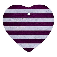 Stripes2white Marble & Purple Leather Ornament (heart) by trendistuff